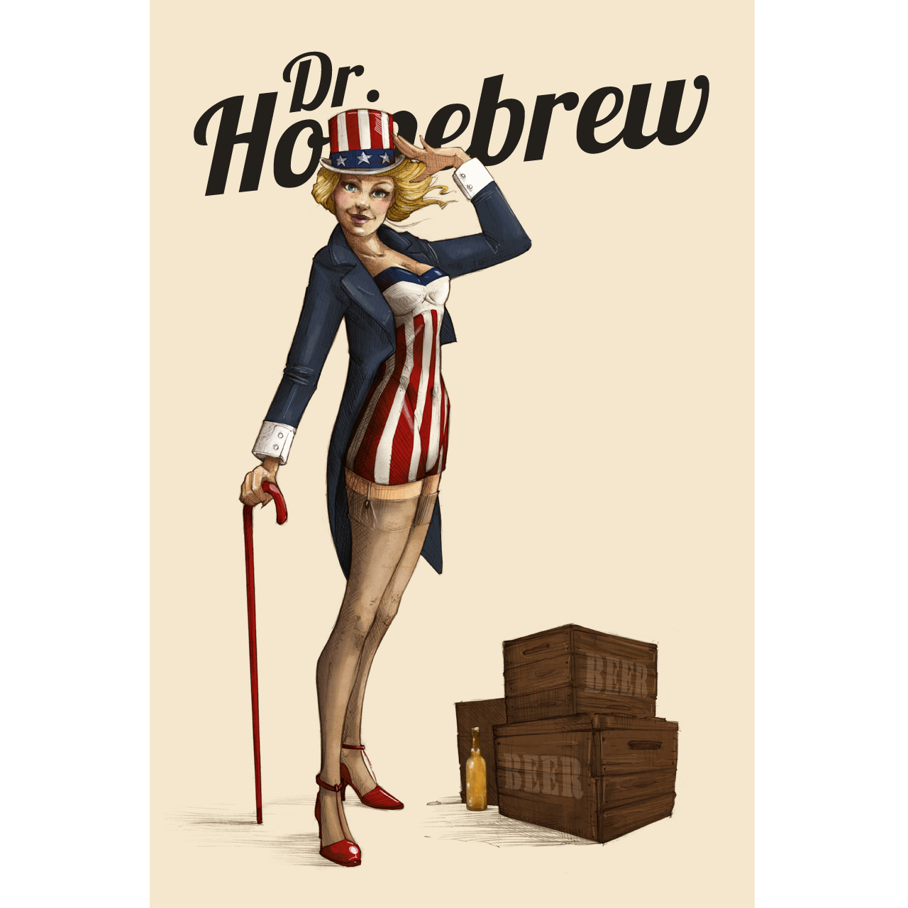 Fourth Of July - Beer Girl Poster - Dr