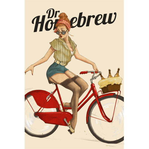 June Bicycle Beer Girl poster by Dr. Homebrew
